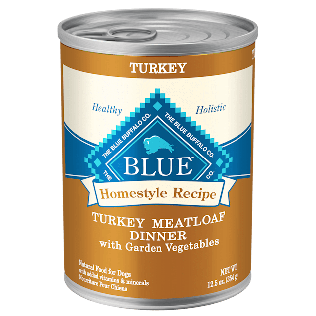 Blue Buffalo Blue Homestyle Recipe Turkey Meatloaf Dinner with Carrots & Sweet Potatoes Adult Wet Dog Food, 12.5 oz., Case of 12 - Carousel image #1
