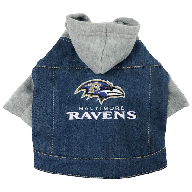 Pets First Baltimore Ravens Denim Hoodie for Dogs, X-Small - Carousel image #1