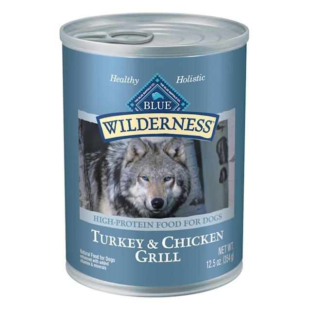 Blue Buffalo Blue Wilderness Turkey & Chicken Grill Wet Dog Food, 12.5 oz., Case of 12 - Carousel image #1