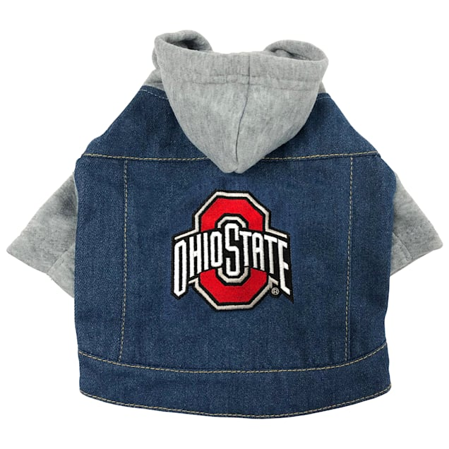Pets First Ohio State Denim Hoodie for Dogs, X-Small - Carousel image #1