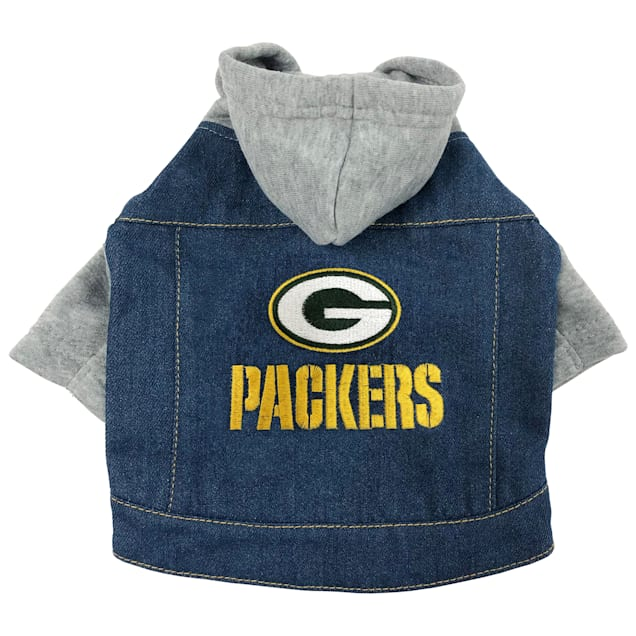 Pets First Green Bay Packers Denim Hoodie for Dogs, X-Small - Carousel image #1