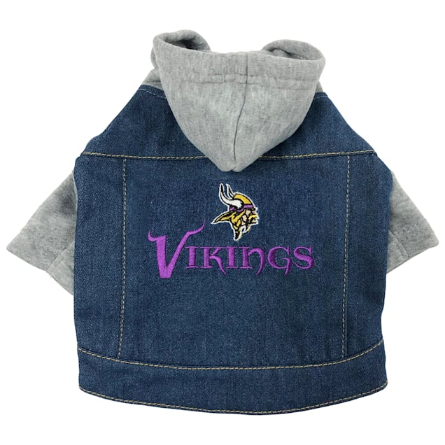 Pets First Minnesota Vikings Denim Hoodie for Dogs, X-Small - Carousel image #1