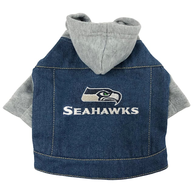 Pets First Seattle Seahawks Denim Hoodie for Dogs, X-Small - Carousel image #1