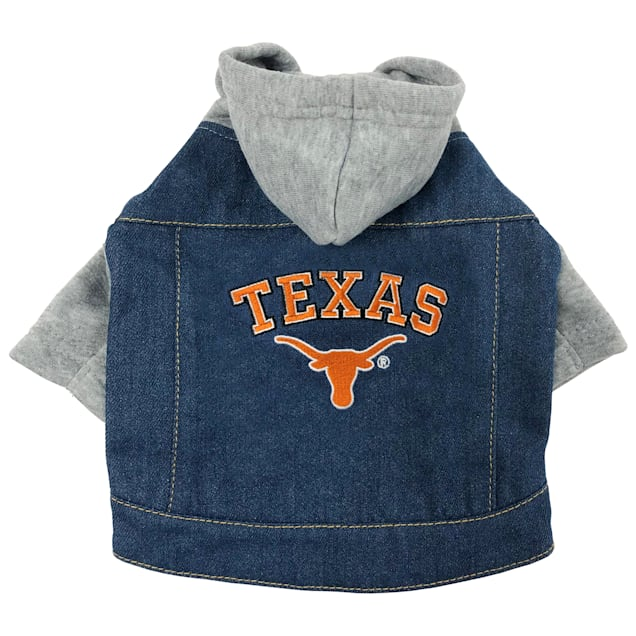 Pets First Texas Longhorns Denim Hoodie for Dogs, X-Small - Carousel image #1