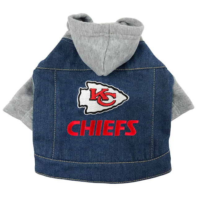 Pets First Kansas City Chiefs Denim Hoodie for Dogs, X-Small - Carousel image #1