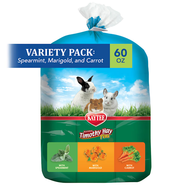 Kaytee Natural Timothy Hay Plus Variety Pack Small Animal Treats, 60 oz. - Carousel image #1