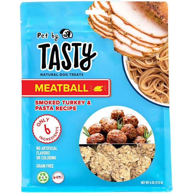 Pet by Tasty Natural Grain Free Smoked Turkey & Pasta Meatball Recipe Dog Treats, 4 oz. - Carousel image #1