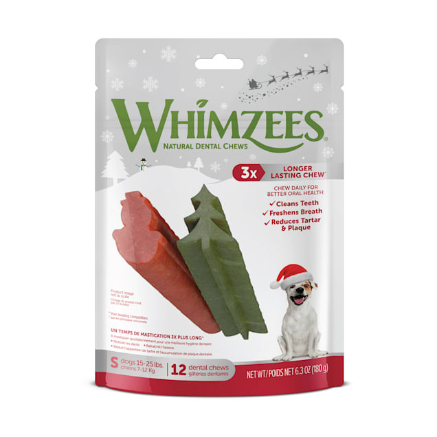 Whimzees Natural Daily Dental Holiday Snowman & Holiday Tree Small Dog Stix, 14.8 oz., Count of 28 - Carousel image #1