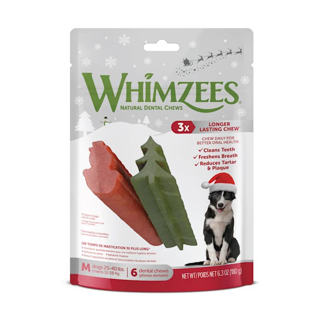 Whimzees Natural Daily Dental Holiday Snowman & Holiday Tree Medium Dog Stix, 14.8 oz., Count of 14 - Carousel image #1
