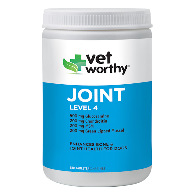 Vet Worthy Joint Support Level 4 Chewable Tablets for Dogs, Count of 180 - Carousel image #1