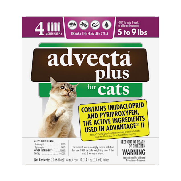 Advecta Plus Flea and Tick Treatment for Small Cats, Count of 4 - Carousel image #1