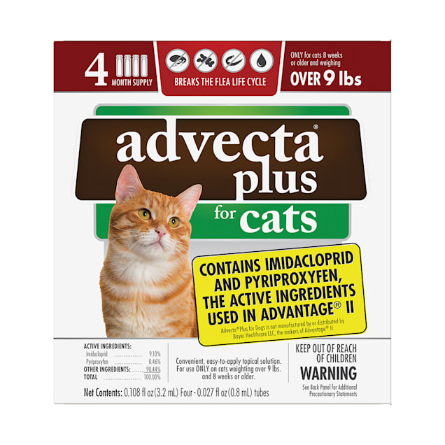 Advecta Plus Flea and Tick Treatment for Large Cats, Count of 4 - Carousel image #1