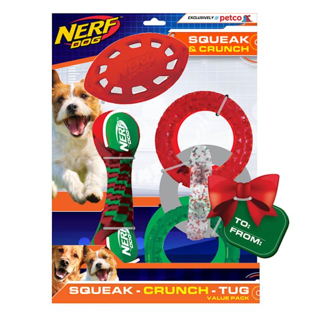 Nerf Holiday Tug Gift Set Toys for Dogs, Medium - Carousel image #1