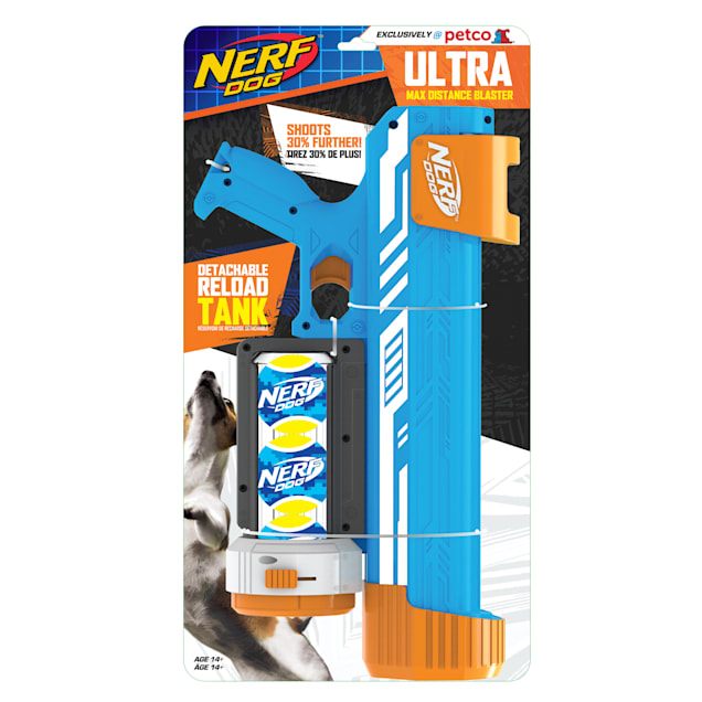 Nerf Ultra Blaster with White Stripes and Canister Dog Toy, Medium - Carousel image #1