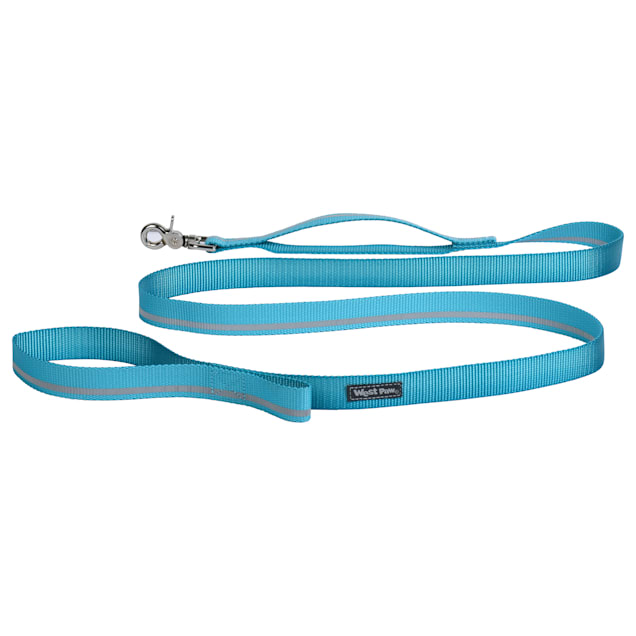 """West Paw Strolls Leash with Traffic Handle in Reflective Turquoise for Dogs, Small, 72"""" L - Carousel image #1"""