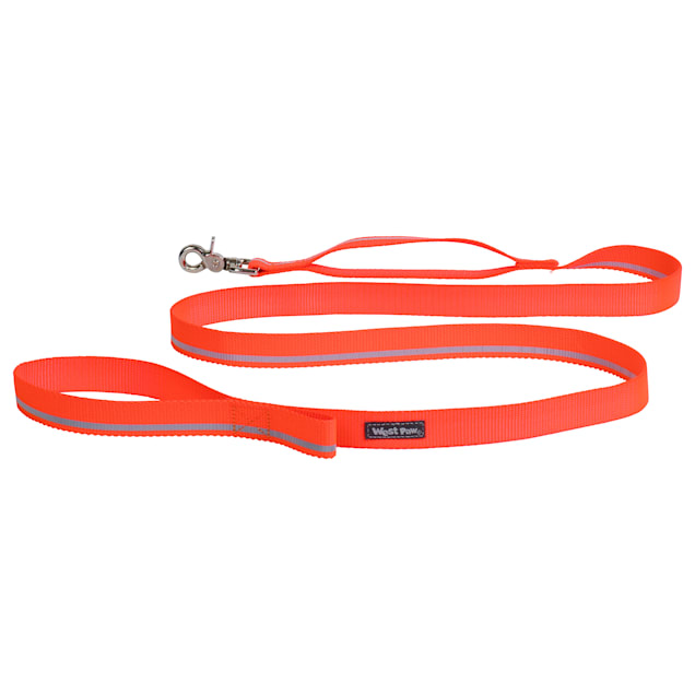 """West Paw Strolls Leash with Traffic Handle in Reflective Neon Orange for Dogs, Small, 72"""" L - Carousel image #1"""