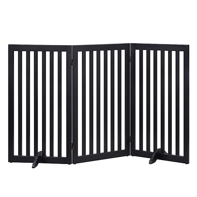 """Unipaws Black Flat 3 Pannel Wooden Freestanding Dog Gate, 20""""-60"""" W X 36"""" H - Carousel image #1"""