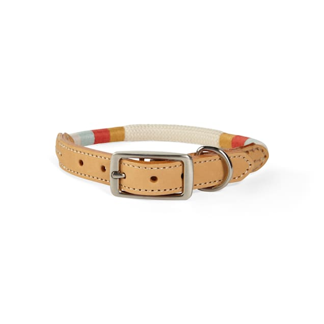 YOULY The Wanderer Cream Rope & Leather Dog Collar, Small - Carousel image #1
