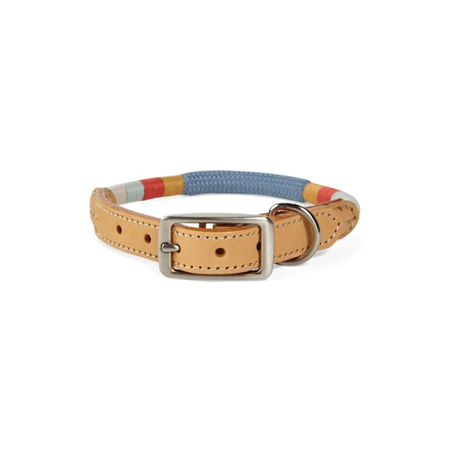 YOULY The Wanderer Blue Rope & Leather Dog Collar, Small - Carousel image #1