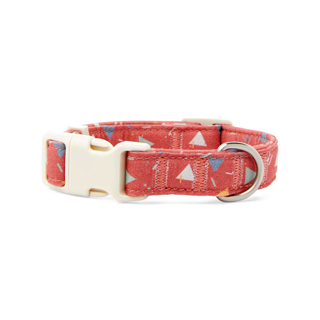 YOULY The Wanderer Red & Multicolor Triangle-Print Dog Collar, Small - Carousel image #1