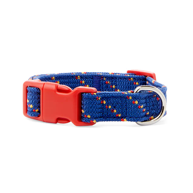 YOULY The Adventurer Navy & Red Webbed Nylon Dog Collar, Small - Carousel image #1