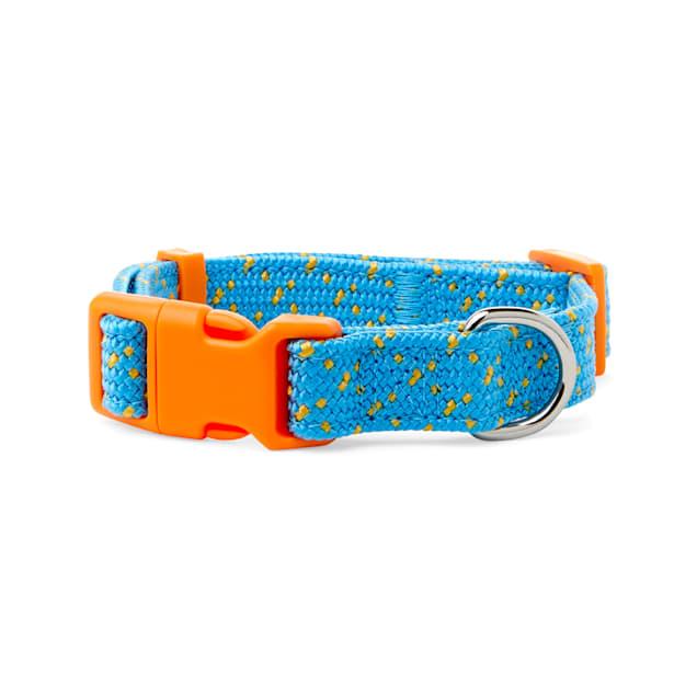 YOULY The Adventurer Teal & Orange Webbed Nylon Dog Collar, Small - Carousel image #1