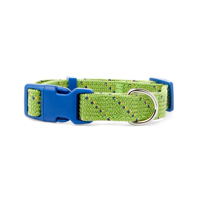 YOULY The Adventurer Green & Blue Webbed Nylon Dog Collar, Small - Carousel image #1