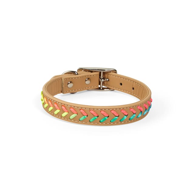 YOULY The Extrovert Tan & Rainbow Braided Dog Collar, Small - Carousel image #1