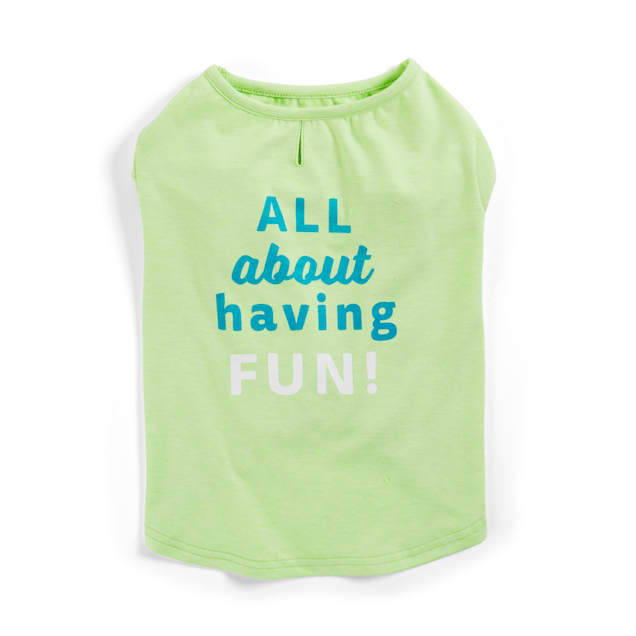 YOULY The Comic Green All About Having Fun Dog T-Shirt, X-Small - Carousel image #1