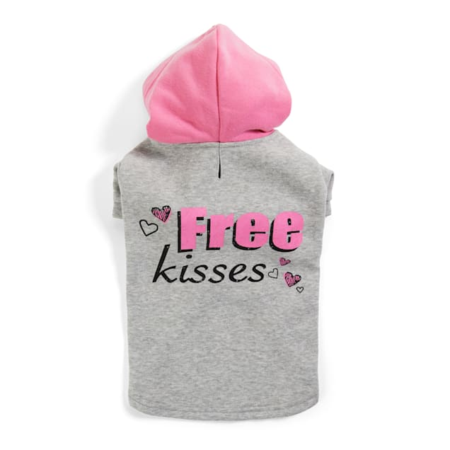 YOULY The Happy-Go-Lucky Grey & Pink Free Kisses Dog Hoodie, XX-Small - Carousel image #1