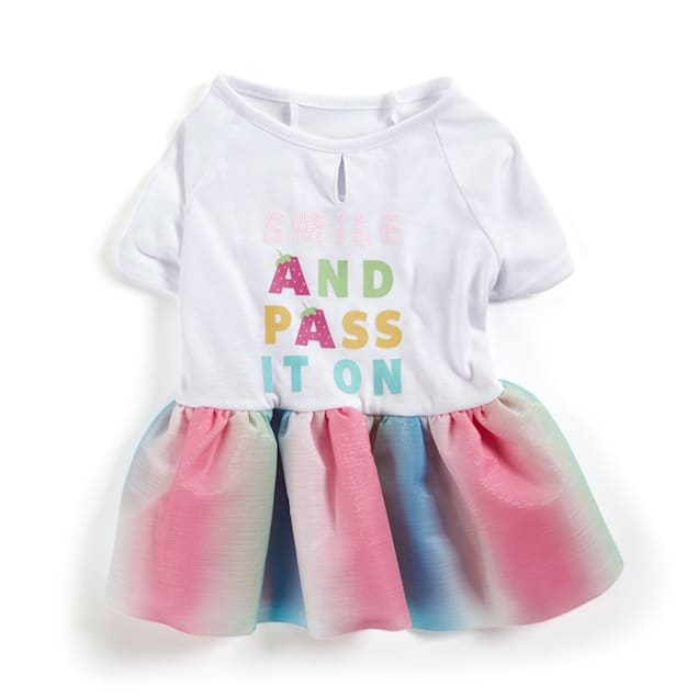 YOULY The Happy-Go-Lucky Smile & Pass It On Dog Dress with Rainbow Tutu, XX-Small - Carousel image #1