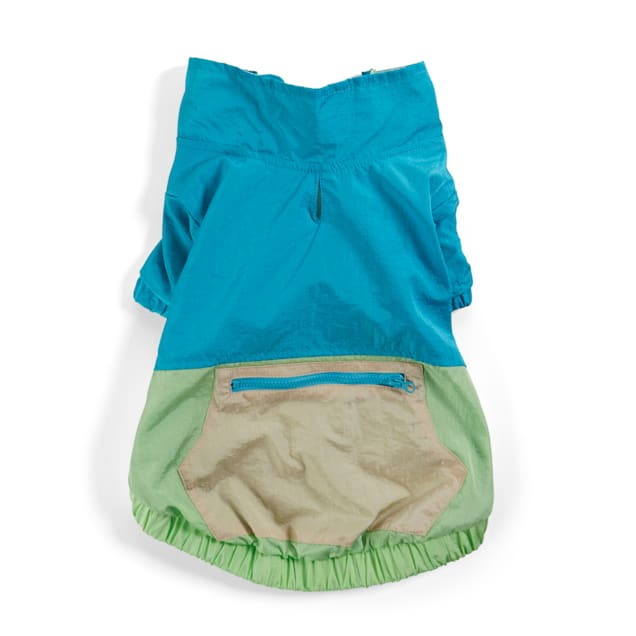 YOULY The Happy-Go-Lucky Blue & Green Colorblocked Nylon Dog Jacket, XX-Small - Carousel image #1