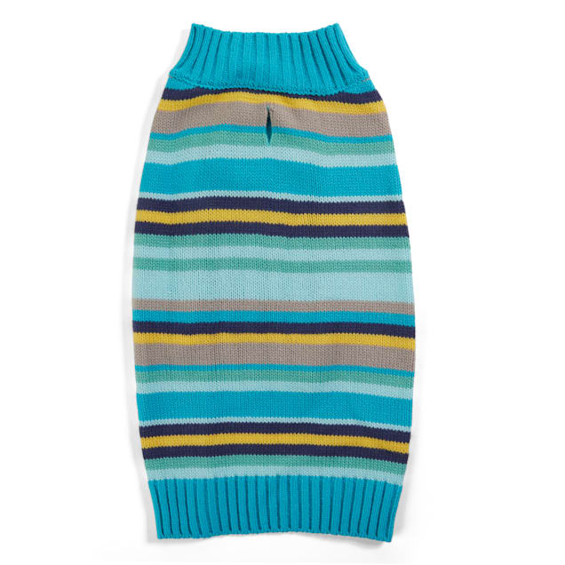 YOULY The Artist Teal & Yellow Striped Knit Dog Sweater, XX-Small - Carousel image #1