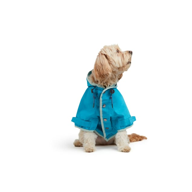 YOULY The Nature Lover Teal Water-Resistant Hooded Dog Jacket, X-Small - Carousel image #1