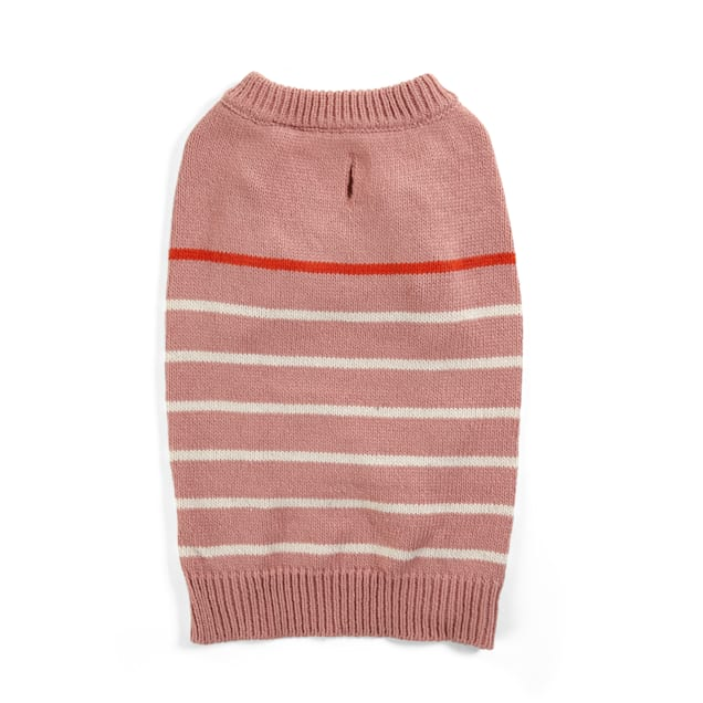 YOULY Beatnik Coral Pink Striped Dog Sweater, Large - Carousel image #1