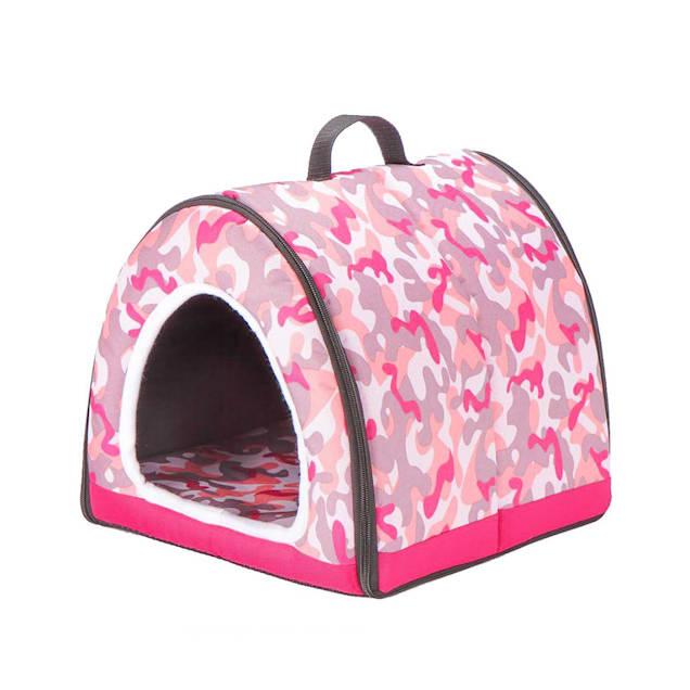 "Petique Pink Camo One-Zip Pet House, 12"" L X 12"" W - Carousel image #1"