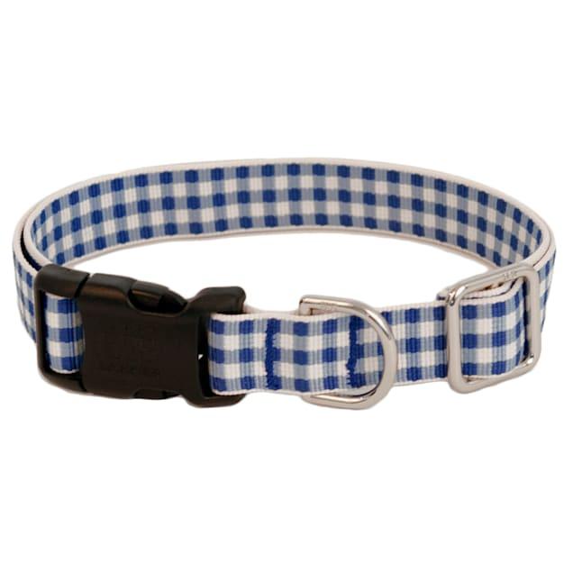 Harry Barker Blue Gingham Dog Collar, Small - Carousel image #1