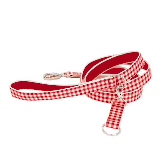 Harry Barker Red Gingham Dog Leash, Medium, 6' ft. - Carousel image #1