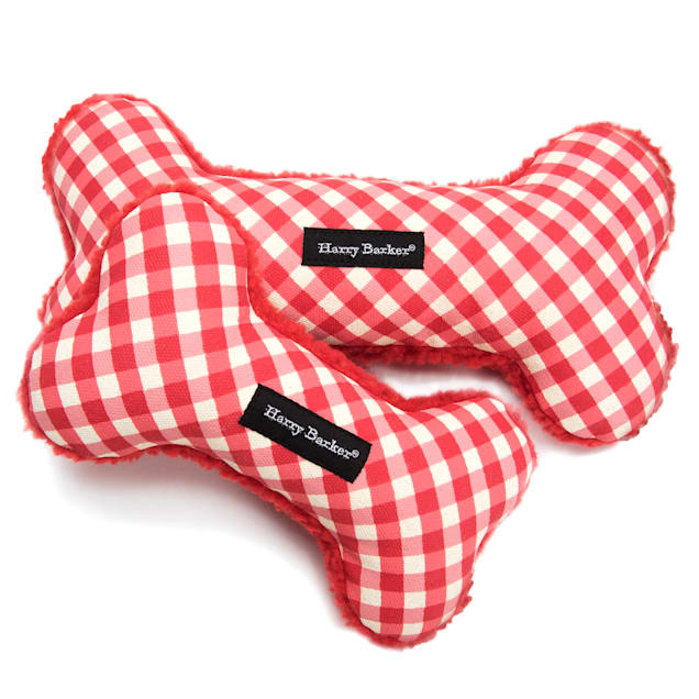 Harry Barker Red Gingham Bone Canvas Dog Toy, Small - Carousel image #1