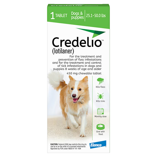 Credelio Chewable Tablet for Dogs 25.1-50 lbs, 1 Month Supply - Carousel image #1