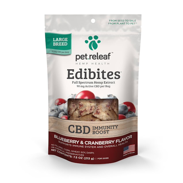 Pet Releaf Edibites Immunity Blueberry & Cranberry Crunchy Supplement for Large Breed Dogs, 7.5 oz., Count of 30 - Carousel image #1
