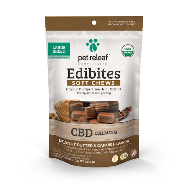 Pet Releaf Edibites Calming Peanut Butter & Carob Soft Chews for Large Breed Dogs, 7.5 oz., Count of 30 - Carousel image #1