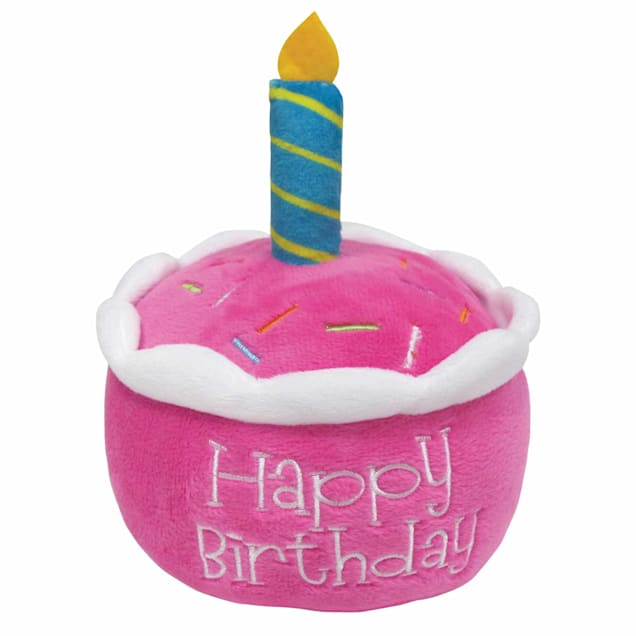foufouBRANDS fouFIT Pink Birthday Cake Plush Dog Toy with Hidden Squeaker, Small - Carousel image #1