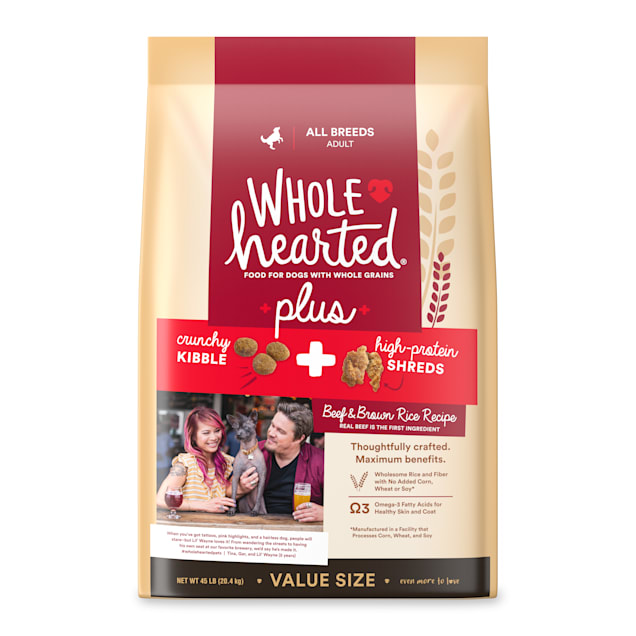 WholeHearted Plus Beef & Brown Rice Recipe with Whole Grains Plus Dry Dog Food, 45 lbs. - Carousel image #1