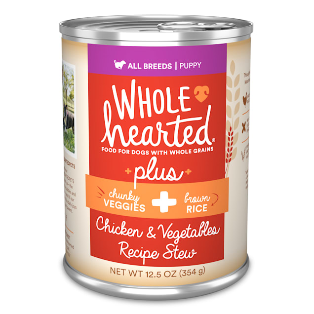 WholeHearted Plus Chicken, Vegetables & Brown Rice Recipe Stew with Whole Grains Wet Puppy Food, 12.5 oz., Case of 8 - Carousel image #1