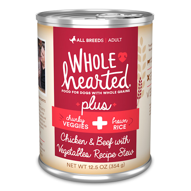WholeHearted Plus Beef, Vegetables & Brown Rice Recipe Stew with Whole Grains Wet Dog Food, 12.5 oz., Case of 8 - Carousel image #1