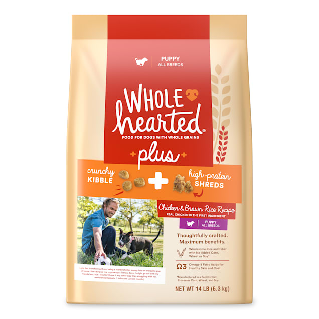 WholeHearted Plus Chicken & Brown Rice Recipe with Whole Grains Dry Puppy Food, 14 lbs. - Carousel image #1