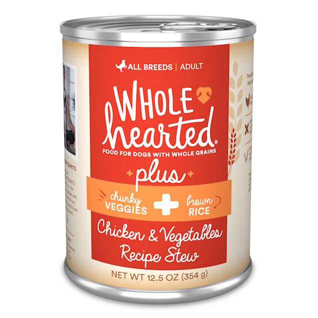 WholeHearted Plus Chicken, Vegetables & Brown Rice Recipe Stew with Whole Grains Wet Dog Food, 12.5 oz., Case of 8 - Carousel image #1