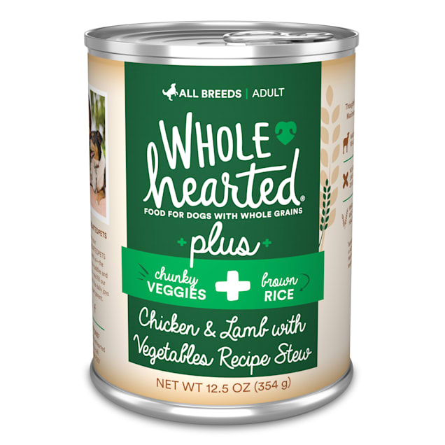 WholeHearted Plus Lamb, Vegetables & Brown Rice Recipe Stew with Whole Grains Wet Dog Food, 12.5 oz., Case of 8 - Carousel image #1
