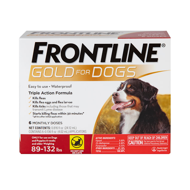 FRONTLINE Gold Flea & Tick Treatment for X-Large Dogs Up to 89 to 132 lbs., Pack of 6 - Carousel image #1